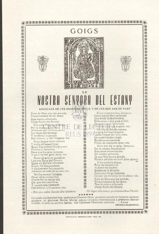 Goigs de Nostra Senyora del Estany advocada de les dones estérils, y de les que van de part