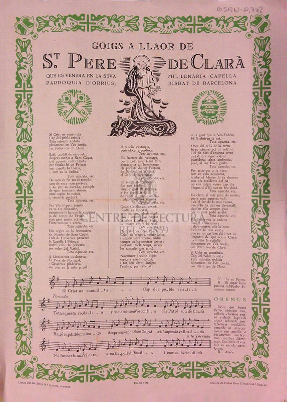 Goigs a llaor de St. Pere de Clarà que es venera en la seva mil·lenària Capella, Parròquia d'Orrius. Bisbat de Barcelona