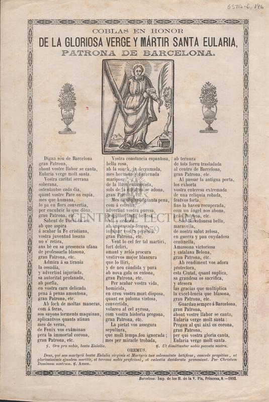 Coblas en honor de la gloriosa verge y mártir Santa Eularia, patrona de Barcelona.