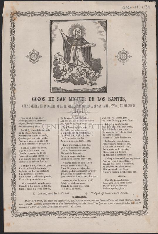 Gozos de San Miguel de los Santos, que se venera en la iglesia de la Trinidad, hoy parroquia de San Jaime apóstol, de Barcelona