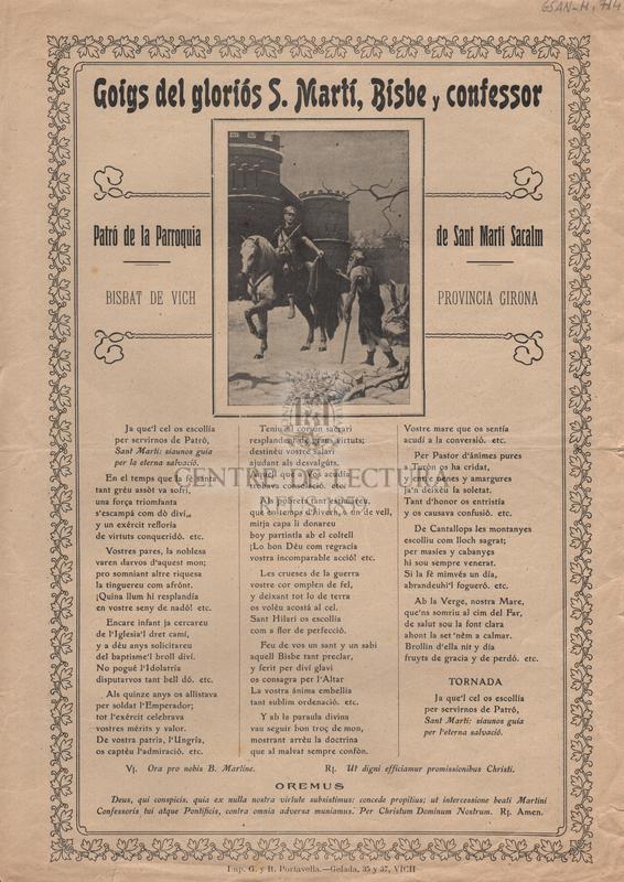 Goigs del gloriós S. Martí, Bisbe y confessor. Patró de la Parroquia de Sant Martí Sacalm. Bisbat de Vich. Provincia Girona