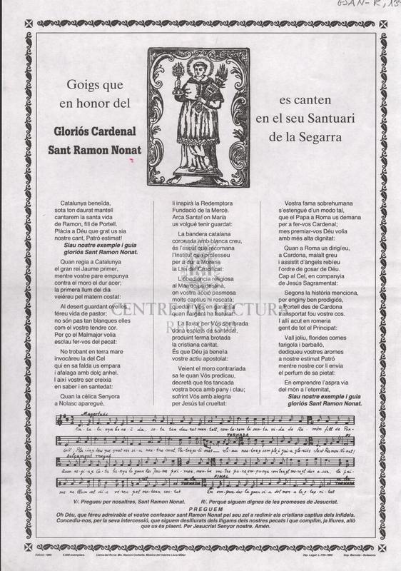Goigs que en honor del Gloriós Cardenal Sant Ramon Nonat es canten en el seu Santuari de la Segarra