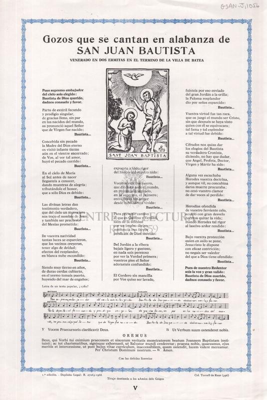 Gozos que se cantan en alabanza de san Juan Bautista, venerado en dos ermitas en el termino de la villa de Batea