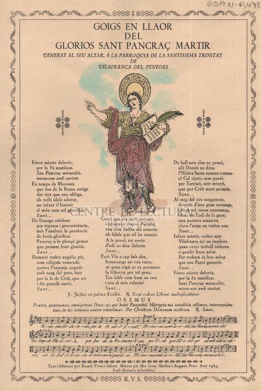 Goigs en llaor del gloriós Sant Pancraç martir venerat al seu altar, a la parroquia de la Santíssima Trinitat de Vilafranca del Penedès