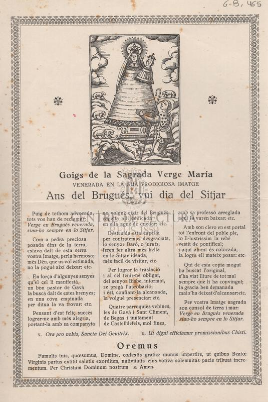 Goigs de la Sagrada Verge María venerada en la sua prodigiosa imatge ans del Brugués, vui dia del sitjar