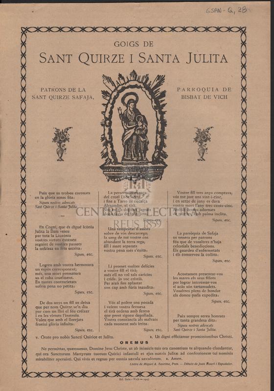 Goigs de Sant Quirze i Santa Julita patrons de la parroquia de Sant Quirze Safaja, Bisbat de Vich