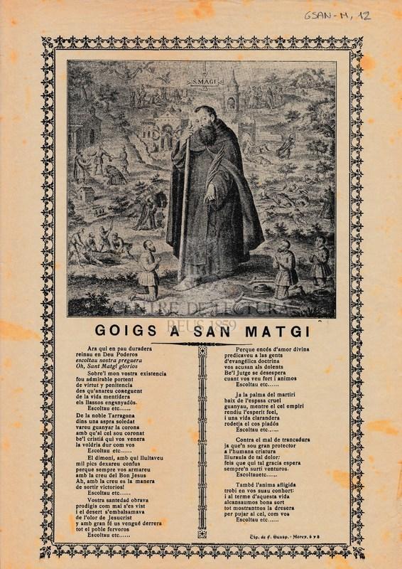 Goigs a San Matgi