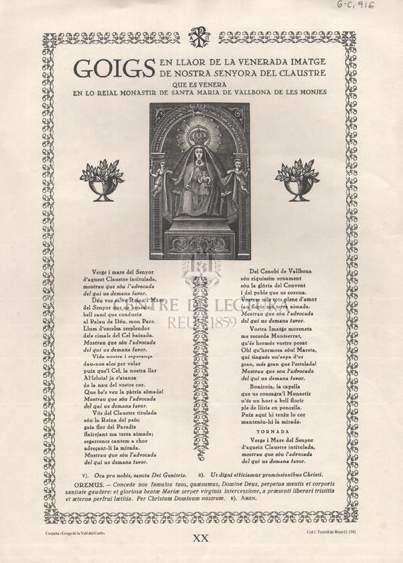 Goigs en la llaor de la venerada imatge de Nostra Senyora del Claustre que es venera en lo reial Monastir de Santa Maria de Vallbona de les Monjes