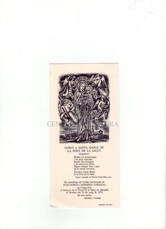 Goigs a Santa Maria de la Font de la Salut (fragment)