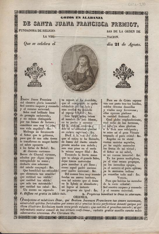 Gozos en alabanza de Santa Juana Francisca Fremiot, fundadora de religiosas de la órden de la visitacion. Que se celebra el dia 21 de Agosto.