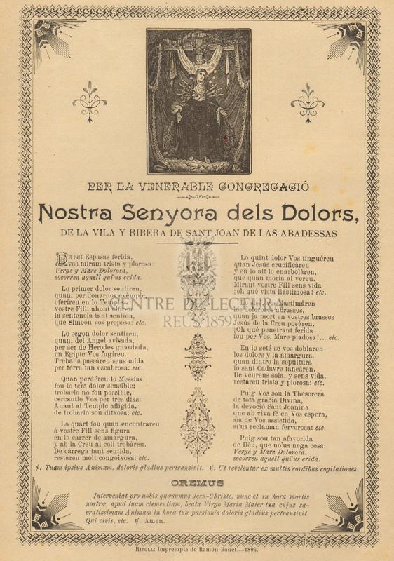 Per la venerable congregació Nostra Senyora dels Dolors, de la Vila y Ribera de Sant Joan de las Abadessas