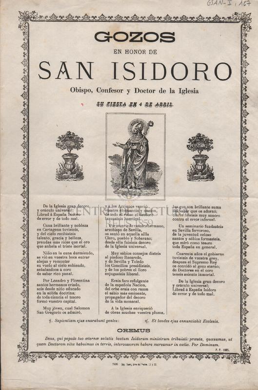 Gozos en honor de San Isidoro. Obispo, Confesor y Doctor de la Iglesia. Su fiesta en 4 de Abril