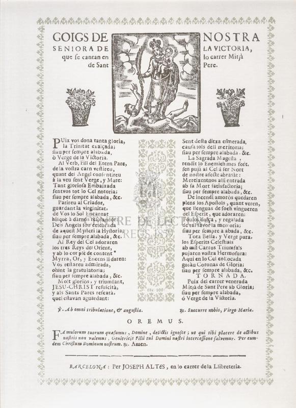 Goigs de Nostra Seniora de la Victoria, que se cantan en lo carrer Mitjà de Sant Pere