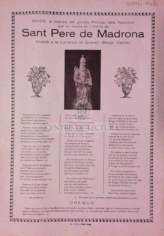 Goigs a lloança dels gloriós Princep dels Apòstols que es venera en l'ermita de Sant Pere de Madrona situada a la muntanya de Queralt: Berga-Valldán