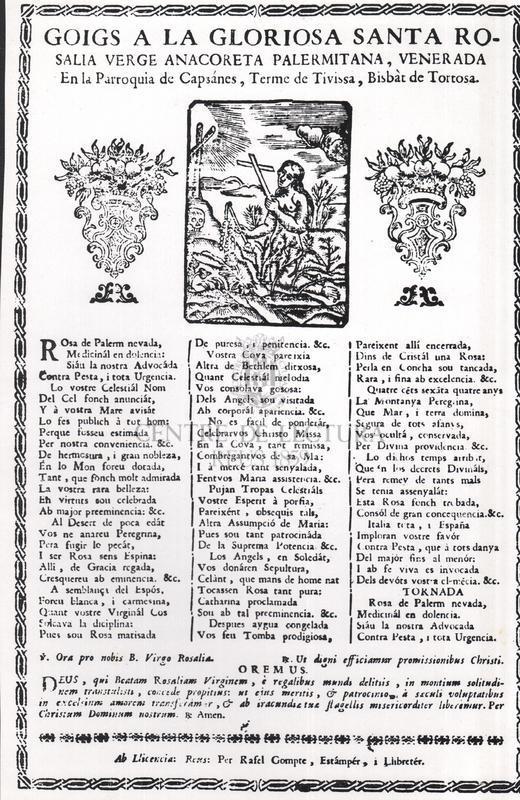 Goigs a la gloriosa Santa Rosalia Verge anacoreta palermitana, venerada en la Parroquia de Capsanes, terme de Tivissa, Bisbàt de Tortosa