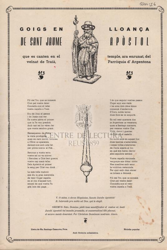 Goigs en lloança de Sant Jaume Apòstol que es canten en el temple, ara enrunat, del veïnat de Traià, Parròquia d'Argentona.