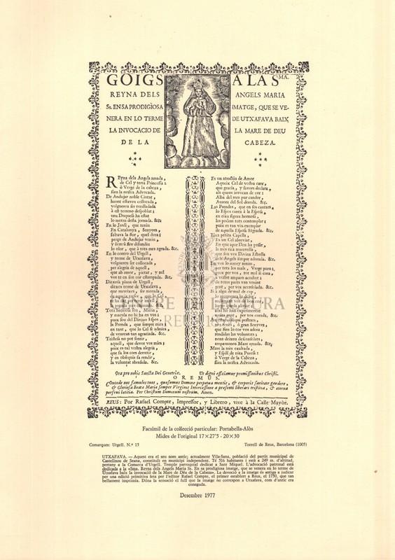 Goigs a la Sma. Reyna dels Angels Maria Ss. en sa prodigiosa imatge, que se venera en lo terme de Utxafava baix la invocació de la Mare de Déu de la Cabeza ; Goigs en alabansa de N. Señora de la Bovera