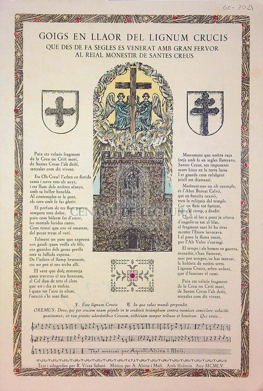 Goigs en llaor del lignum crucis que des de fa segles es venerat amb gran fervor al reial monestir de Santes Creus