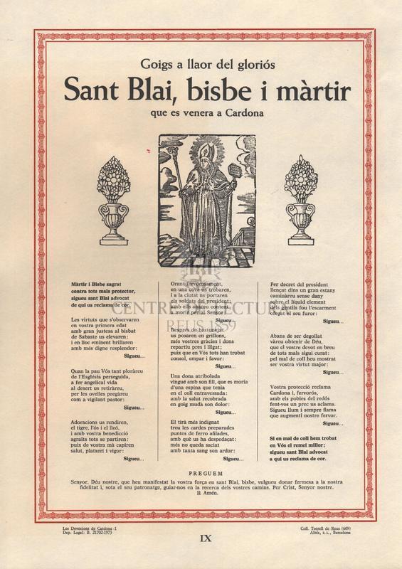 Goigs a llaor del gloriós Sant Blai, bisbe i màrtir que es venera a Cardona