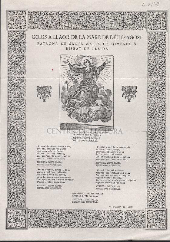 Goigs a llaor de la Mare de Déu d'Agost patrona de Santa Maria de Gimenells Bibat de Lleida
