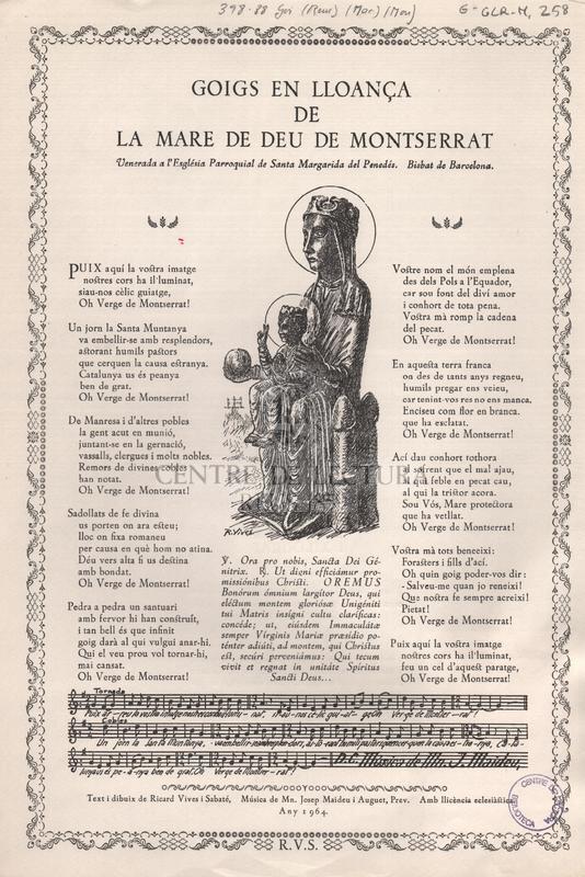 Goigs en lloança de la Mare de Deu de Montserrat venerada a l'Església Parroquial de Santa Margarida del Penedès. Bisbat de Barcelona.