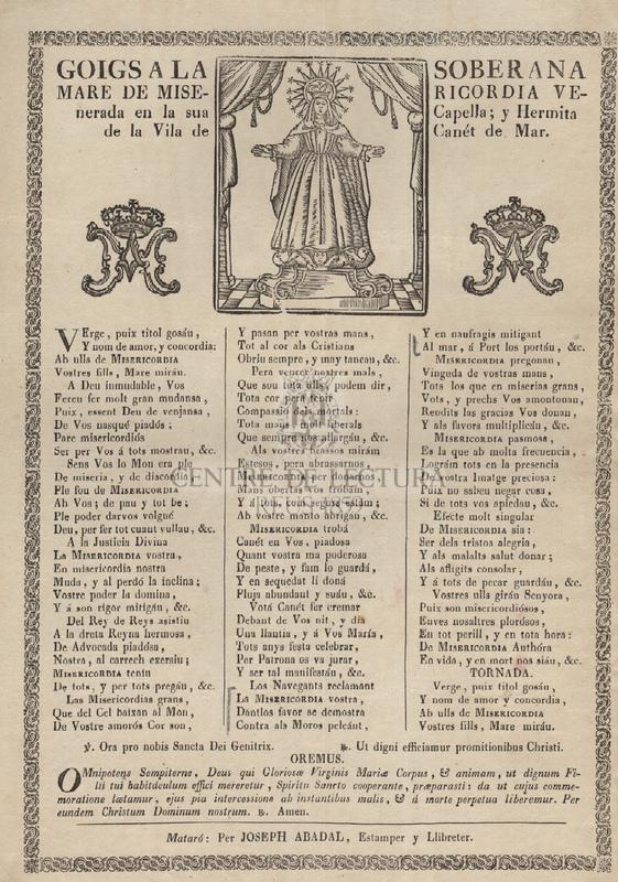 Goigs a la Soberana Mare de Misericordia venerada en la sua Capella; y Hermita en la Vila de Canét de Mar.