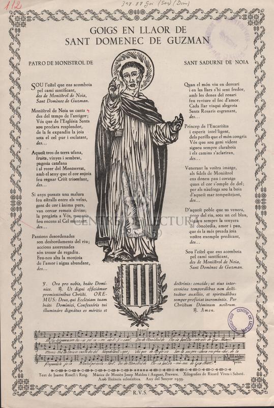 Goigs en llaor de sant Domenec de Guzman patro de Monistrol de Sant Sadurni de Noia.