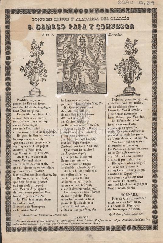 Goigs en honor y alabanza del gloriós S. Damaso Papa y confesor