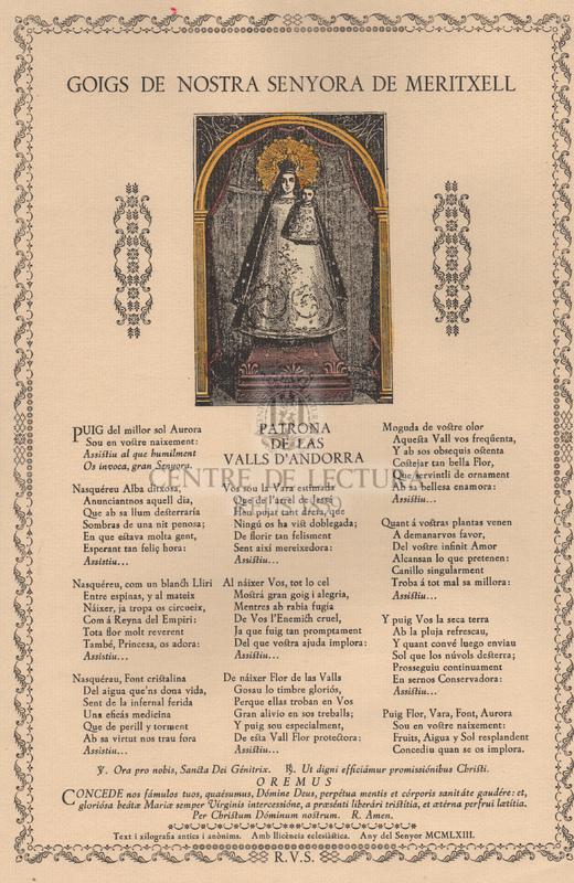 Goigs de Nostra Senyora de Meritxell.