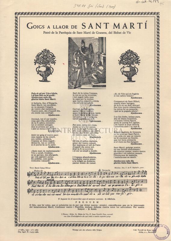 Goigs a llaor de sant Martí patró de la Parròquia de Sant Martí de Granera, del Bisbat de Vic.