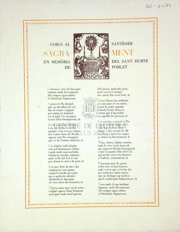Goigs al santíssim sagrament en memòria del Sant Dubte de Poblet