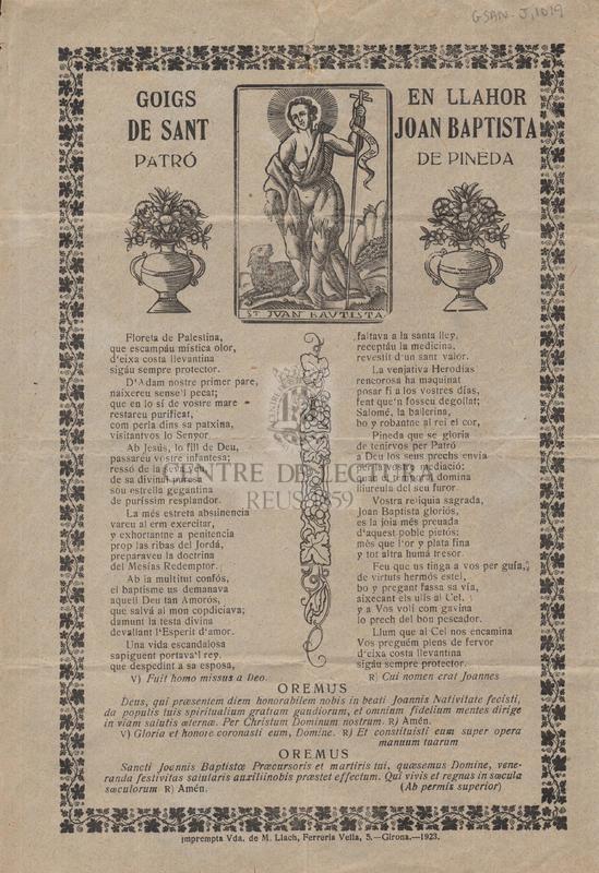 Goigs en llahor de sant Joan Baptista patró de Pineda