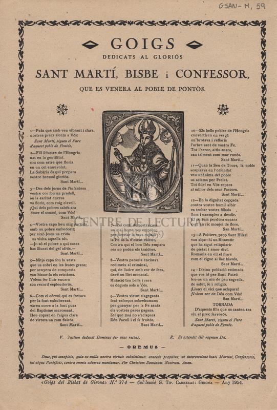 Goigs dedicats al gloriós Sant Martí, bisbe i confessor, que es venera al poble de Pontòs