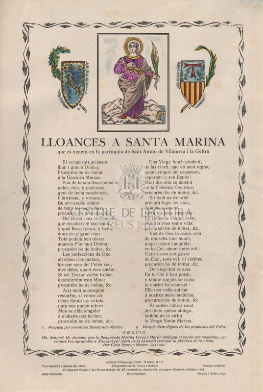 Lloances a Santa Marina, que es venerà en la parròquia de Sant Anton de Vilanova i la Geltrú