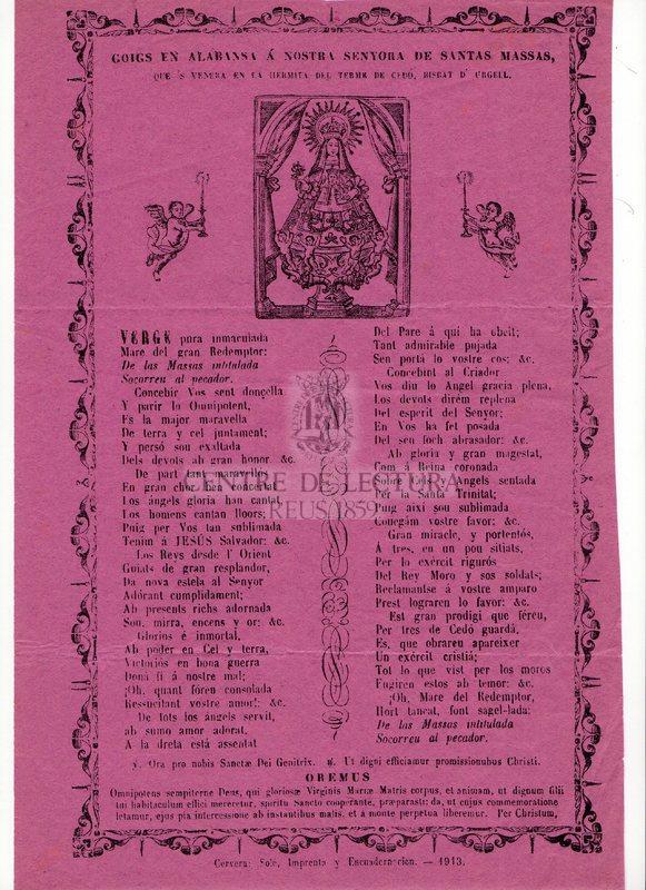 Goigs en alabansa á Nostra Senyora de Santes Massas, que's venera en la hermita del Terme de Cedó, Bisbat d'Urgell