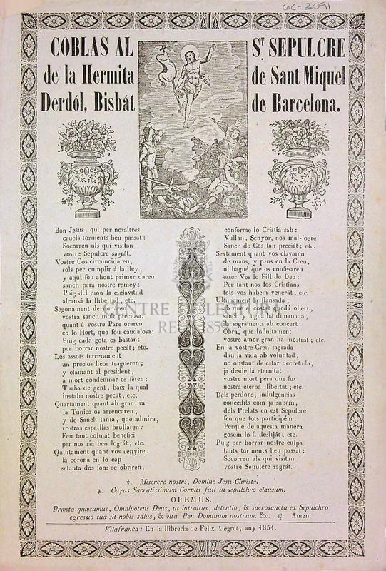 Coblas al S. Sepulcre de la hermita de Sant Miquel Derdól, Bisbát de Barcelona