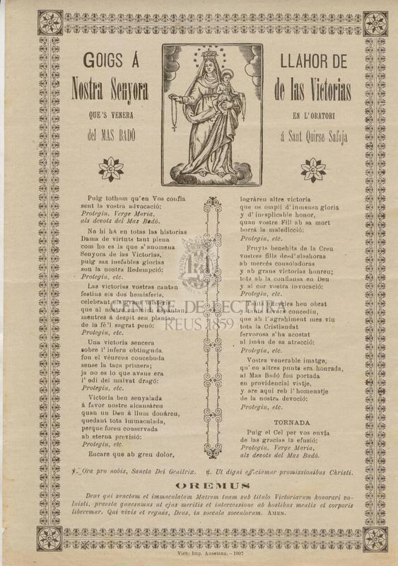 Goigs á llahor de Nostra Senyora de las Victorias que's venera en l'oratori del Mas Badó á Sant Quirse Safaja