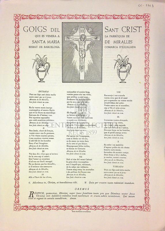 Goigs del Sant Crist que es venera a la parròquia de Santa Maria de Miralles Bisbat de Barcelona, Comarca d'Igualada