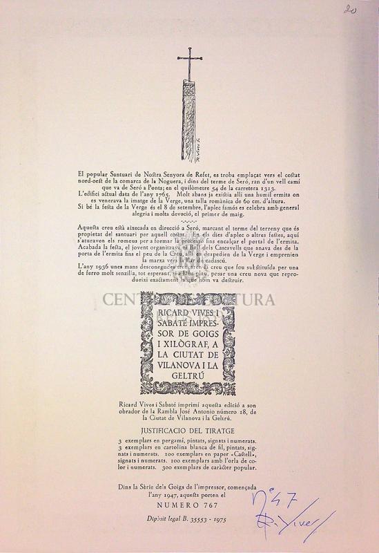 Goigs en lloança de la Santa Creu impresos en pietos homenatge a la creu monumental aixecada ran del cami que mena a l'ermita de Santa Maria de Refet de la Baronia de Sero, del Bisbat d'Urgell