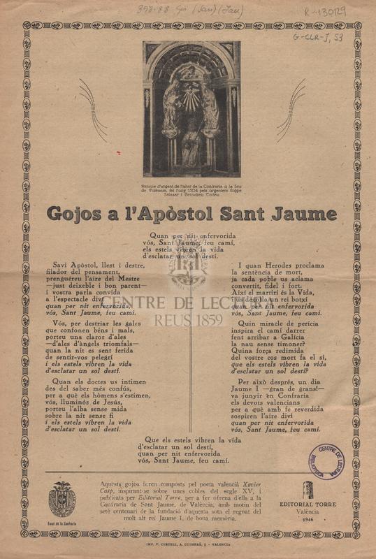 Gojos a l'Apòstol Sant Jaume.