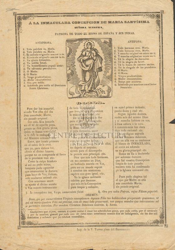 A la Immaculada Concepción de Maria Santísima señora nuestra patrona de todo el reino de España y sus indias