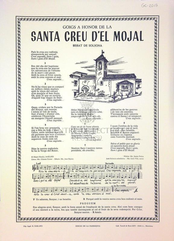 Goig a honor de la Santa Creu d'El Mojal Bisbat de Solsona