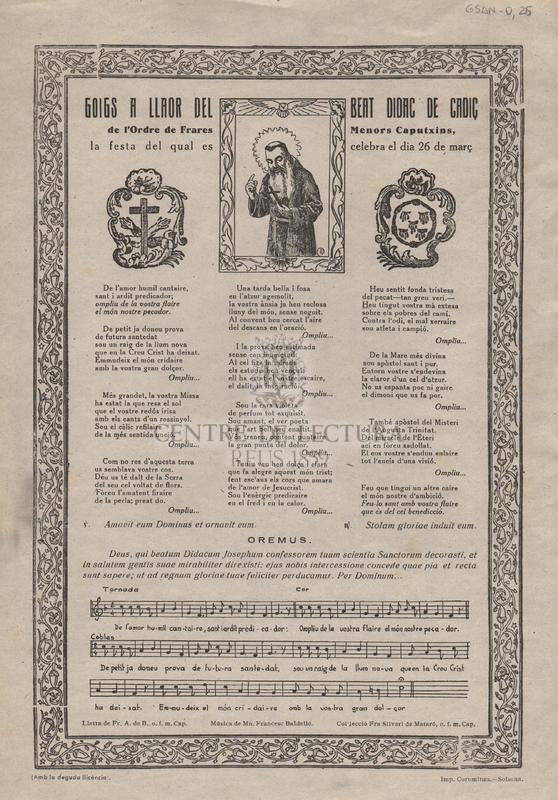 Goigs a llaor del Beat Didac de Cadiç de l'Ordre de Frares Menors Caputxins, la festa del qual es celebra el dia 26 de març.