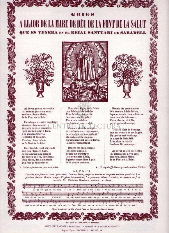 Goigs a llaor de la Mare de Déu de la Font d la Salut que es venera en el reial Santuari de Sabadell