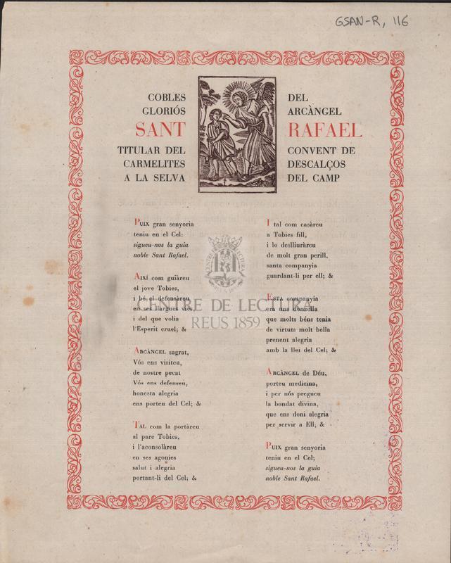 Cobles del gloriós arcàngel Sant Rafael titular del convent de carmelites descalços a la Selva del Camp