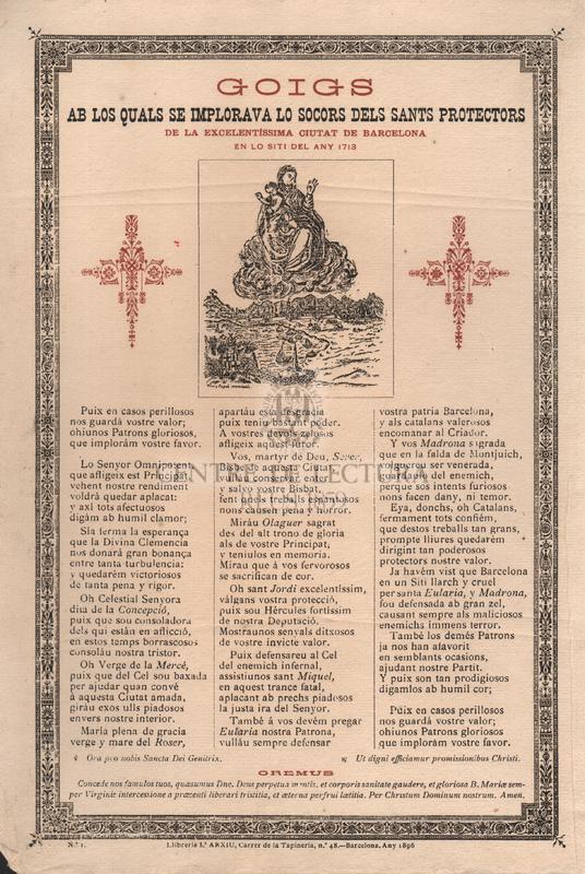 Goigs ab los quals se implorava lo socors dels sants protectors de la excelentíssima ciutat de Barcelona, en lo siti del any 1713