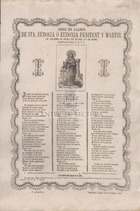 Goigs en llahor de Sta. Eudocia ó Eudoxia penitent y mártir. Se celebra sa festa en lo dia 1er de març. Compostos per J. B. y V.