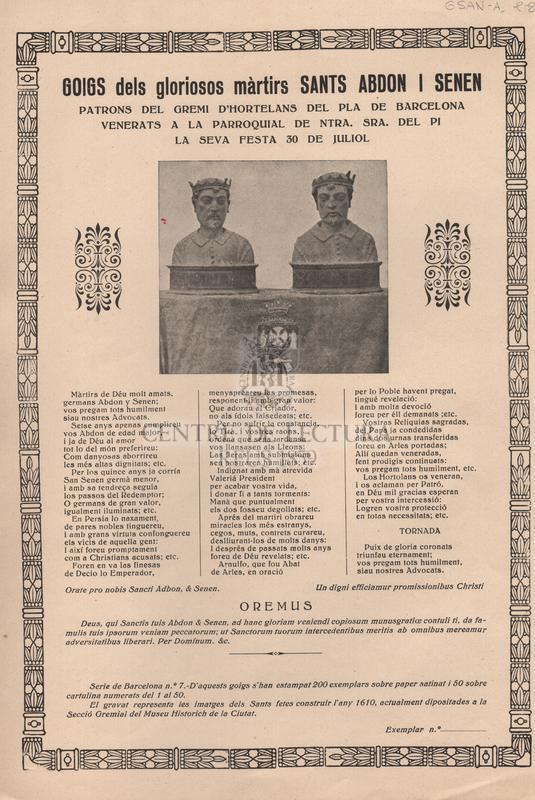 Goigs dels gloriosos màrtirs Sants Abdon i Senen patrons del gremi d'Hortelans del pla de Barcelona venerats a la parroquial de Ntra. Sra. del Pi la seva festa 30 de Juliol.