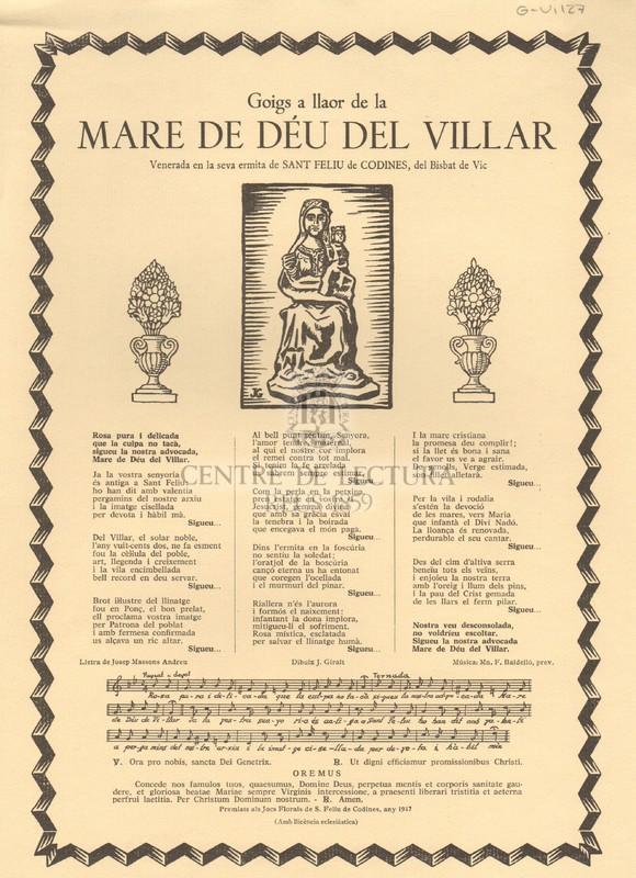 Goigs a llaor de la Mare de Déu del Villar venerada en la seva ermita de Sant feliu de Codines, del Bisbat de Vic