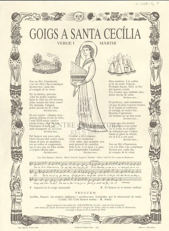 Goigs a Santa Cecília, Verge i Màrtir